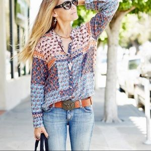 Free People Garden floral Patchwork Boho Blouse
